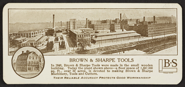 Trade card for Brown & Sharpe Tools, Providence, Rhode Island, undated