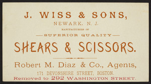 Trade card for J. Wiss & Sons, shears & scissors, Newark, New Jersey, undated