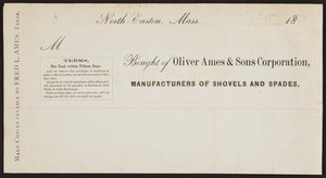 Billhead for Oliver Ames & Sons Corporation, manufacturers of shovels and spades, North Easton, Mass., ca. 1800
