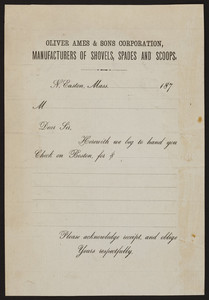 Oliver Ames & Sons Corporation, manufacturers of shovels, spades and scoops, North Easton, Mass., ca. 1870
