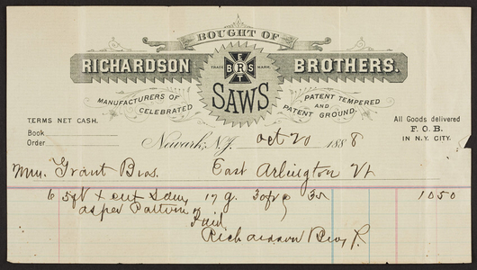 Billhead for Richardson Brothers, saws, Newark, New Jersey, dated October 20, 1888