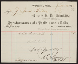 Billhead for P.E. Somers, manufacturers of tacks and nails, No. 17 Hermon Street, Worcester, Mass., dated December 21, 1894
