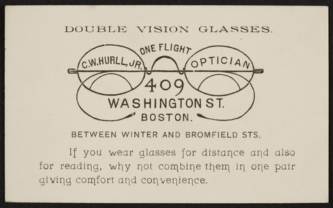 Trade card for C.W. Hurll, Jr., optician, 409 Washington Street between Winter and Bromfield Streets, Boston, Mass., undated