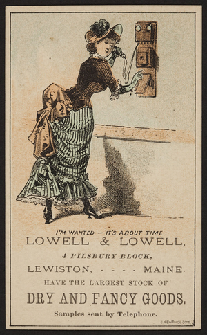 Trade card for Lowell & Lowell, dry and fancy goods, 4 Pilsbury Block, Lewiston, Maine, undated