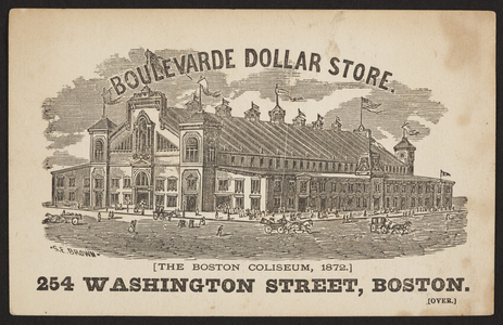 Trade card for the Boulevarde Dollar Store, 254 Washington Street, Boston, Mass., 1872
