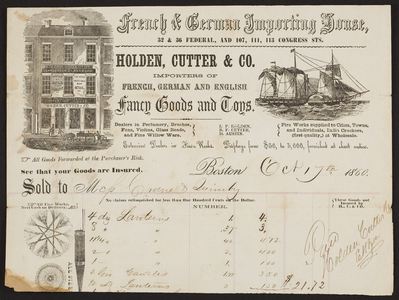Billhead for Holden, Cutter & Co., French, German and English fancy goods and toys, 32 & 36 Federal, and 107, 111, 113 Congress Streets, Boston, Mass., dated October 17, 1860