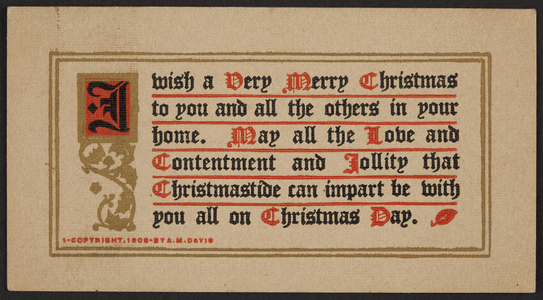 Christmas greeting card, A.M. Davis, location unknown, 1908