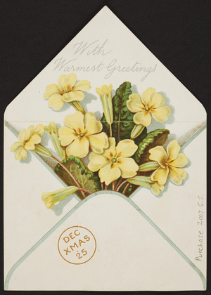 With warmest greetings card, Marcus Ward & Co., London, England,; Belfast, Northern Ireland, undated