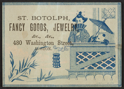 Trade card for the St. Botolph, fancy goods, jewelry, 480 Washington Street, Boston, Mass., undated