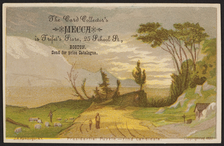 Trade card for Trifet's Store, the card collector's mecca, 25 School Street, Boston, Mass., 1880