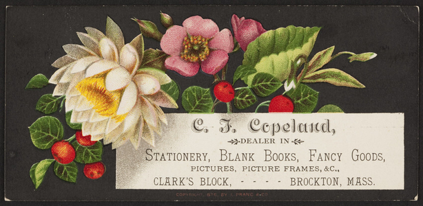 Trade card for C.J. Copeland, stationery, blank books, fancy goods, Clark's Block, Brockton, Mass., undated