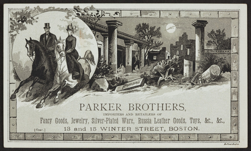 Trade card for Parker Brothers, fancy goods, jewelry, silver-plated ware, 13 & 15 Winter Street, Boston, Mass., undated