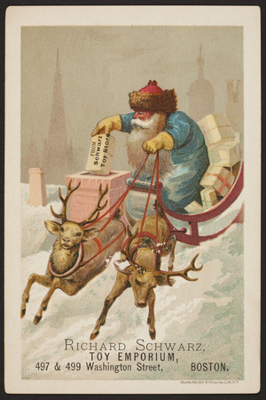 Trade card for Richard Schwarz Toy Emporium, 497 & 499 Washington Street, Boston, Mass., undated