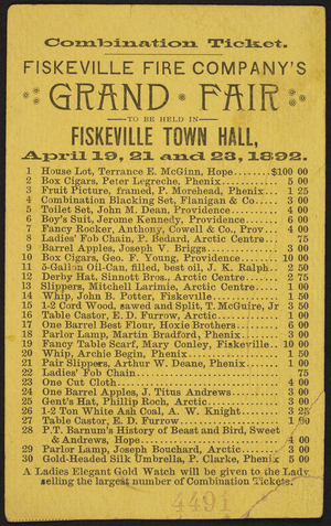 Combination ticket for the Fiskeville Fire Company's Grand Fair, Fiskeville Town Hall, Fiskeville, Rhode Island, April 19, 21, and 23, 1892
