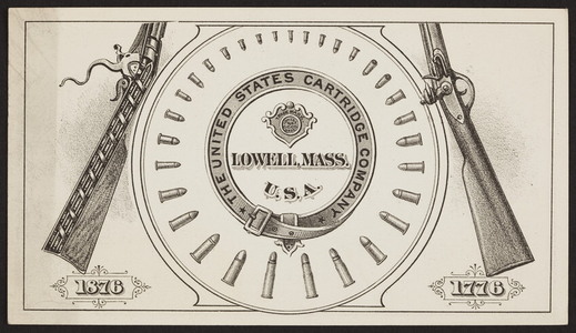 Trade card for The United States Cartridge Company, Lowell, Mass., 1876