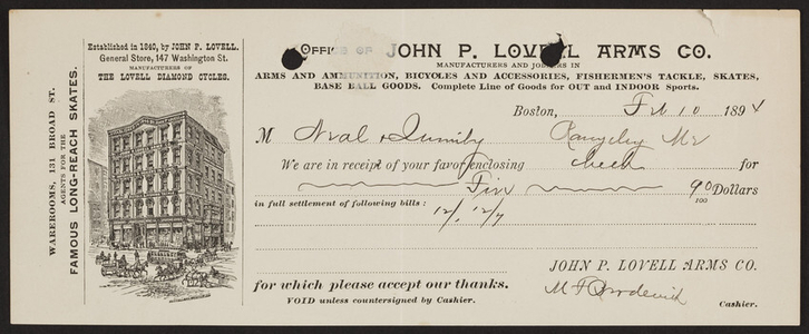 Billhead for the John P. Lovell Arms Co., arms and ammunition, 147 Washington Street and 131 Broad Street, Boston, Mass., dated February 10, 1894