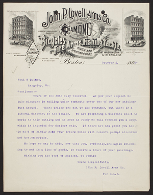 Billhead for the John P. Lovell Arms Co., fire arms, 147 Washington Street and 131 Broad Street, Boston, Mass., dated October 2, 1895