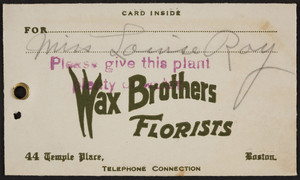 Envelope for the Wax Brothers, florists, 44 Temple Place, Boston, Mass., March 19, 1924
