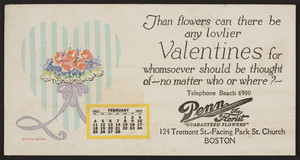 Trade card for Penn the Florist, 124 Tremont Street, Boston, Mass., February, 1923