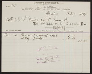 Billhead for William E. Doyle, Dr., florist, 43 Tremont Street and under Hotel Vendome, Boston, Mass., dated February 1, 1888