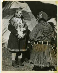 Lapp women at the tent, north Norway