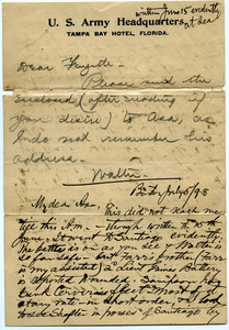 Letter from Walter M. Dickinson to Marquis Fayette Dickinson