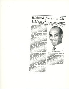 Richard Jones, at 53; UMass choreographer