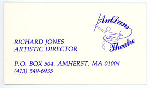Richard Jones, Artistic Director, AmDans Theatre business card