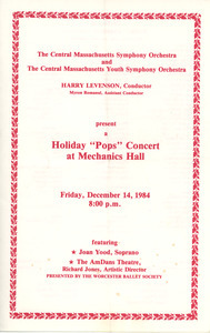 Holiday 'pops' concert at Mechanics Hall program