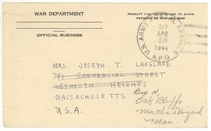 Postcard from Joseph Langland