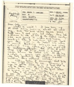 V-mail from Joseph Langland to Judith G. Wood Langland