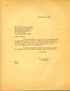 Letter from James W. Burke to Harold E. Kiley