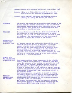 Report on meeting in President's office on policy to be followed in the event the new men's dormitories are not completed by September 23, 1946