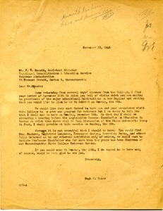 Letter from Hugh Potter Baker to F. W. Knauth