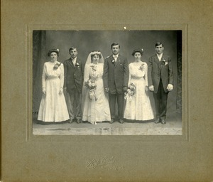 Polish American bridal party: full-length studio portrait