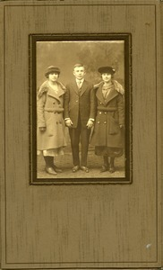 Jan Lesinski and cousins Josephine Deptula (left: of Southampton, Mass.) and Helen Deptula Keller (right: Southampton and later Westfield, Mass.): full-length studio portrait