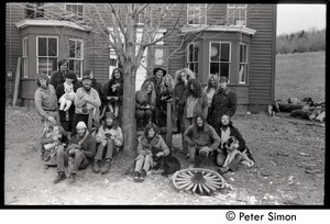 Commune members posed in front of the house, Montague Farm commune