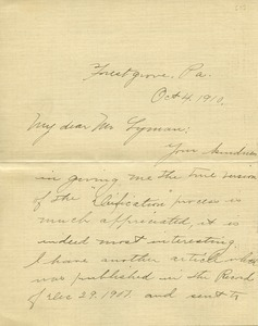 Letter from Anna K. Bewley to Benjamin Smith Lyman