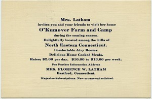 Mrs. Latham invite you and your friends to visit her home O'Kumover Farm and Camp during the coming season