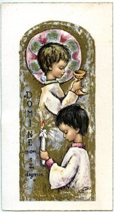 Holy card: two children
