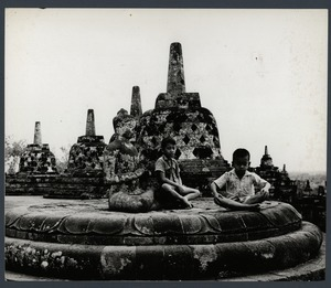 Indonesian boys at Borobudur Temple