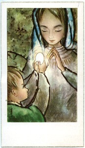 Holy card: child and Virgin Mary