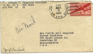 Envelope from Joseph Langland to Judith G. Wood Langland