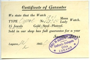 Certificate of guarantee for Swiss watch