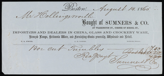 Billhead for Sumners & Co., importers and dealers in china, glass and crockery ware, 137 Washington Street, corner of School Street, Boston, Mass., dated August 14, 1860