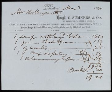Billhead for Sumners & Co., importers and dealers in china, glass and crockery ware, 137 Washington Street, corner of School Street, Boston, Mass., dated March 3, 1860