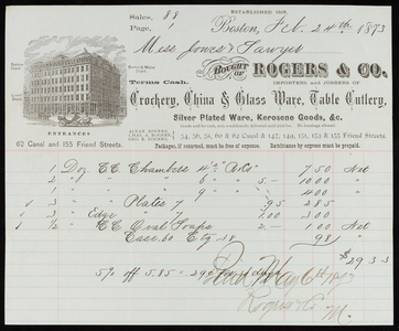 Billhead for Rogers & Co., importers and jobbers of crockery, china & glass ware, table cutlery, 155 Friend and 62 Canal Streets, Boston, Mass., dated February 24, 1873