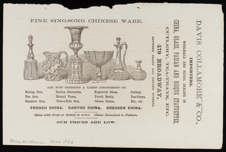 Advertisement for Davis Collamore & Co., importers, wholesale and retail dealers in china, glass, parian and bisque statuettes, 479 Broadway, New York, New York, May 1866