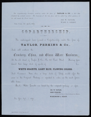 Copartnership agreement form for Taylor, Perkins & Co., crockery, china and glass ware business, No. 62 Pearl Street, New York, New York, April 7, 1854
