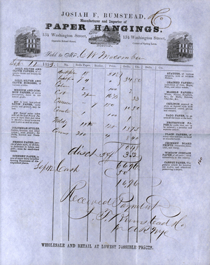Billhead for Josiah F. Bumstead, manufacturer and importer of paper hangings, 134 Washington Street, Boston, Mass., dated September 12, 1853